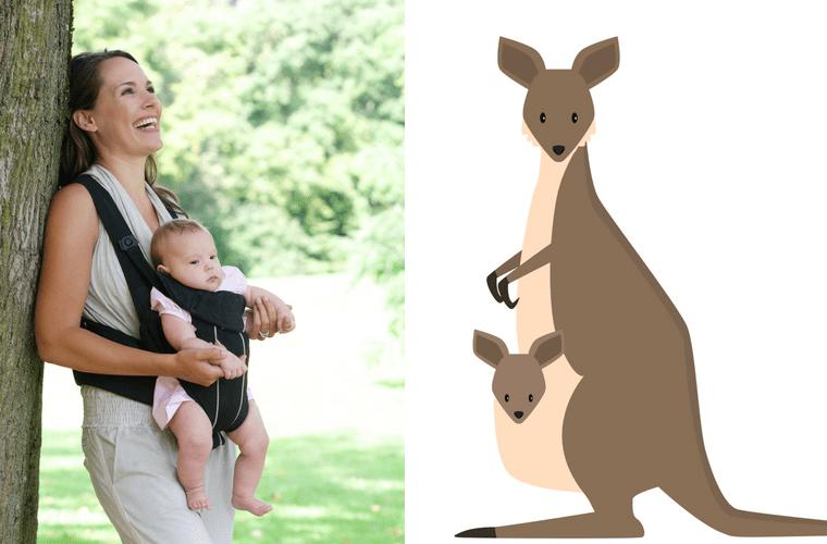 Bebek kangurusuyla bebeğini taşıyan bir anne ve yavrusunu taşıyan kanguruyu yan yana sunan görsel