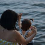 havuz, deniz, kum, güneş ve çocuk